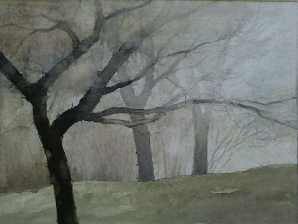 """Bäume im Nebel"" (3) Aquarell 29x39cm"