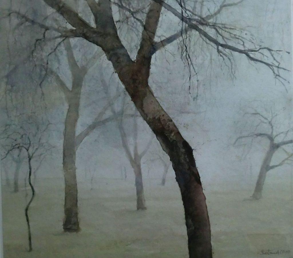 """Bäume im Nebel"" (5) Aquarell 32x36cm"
