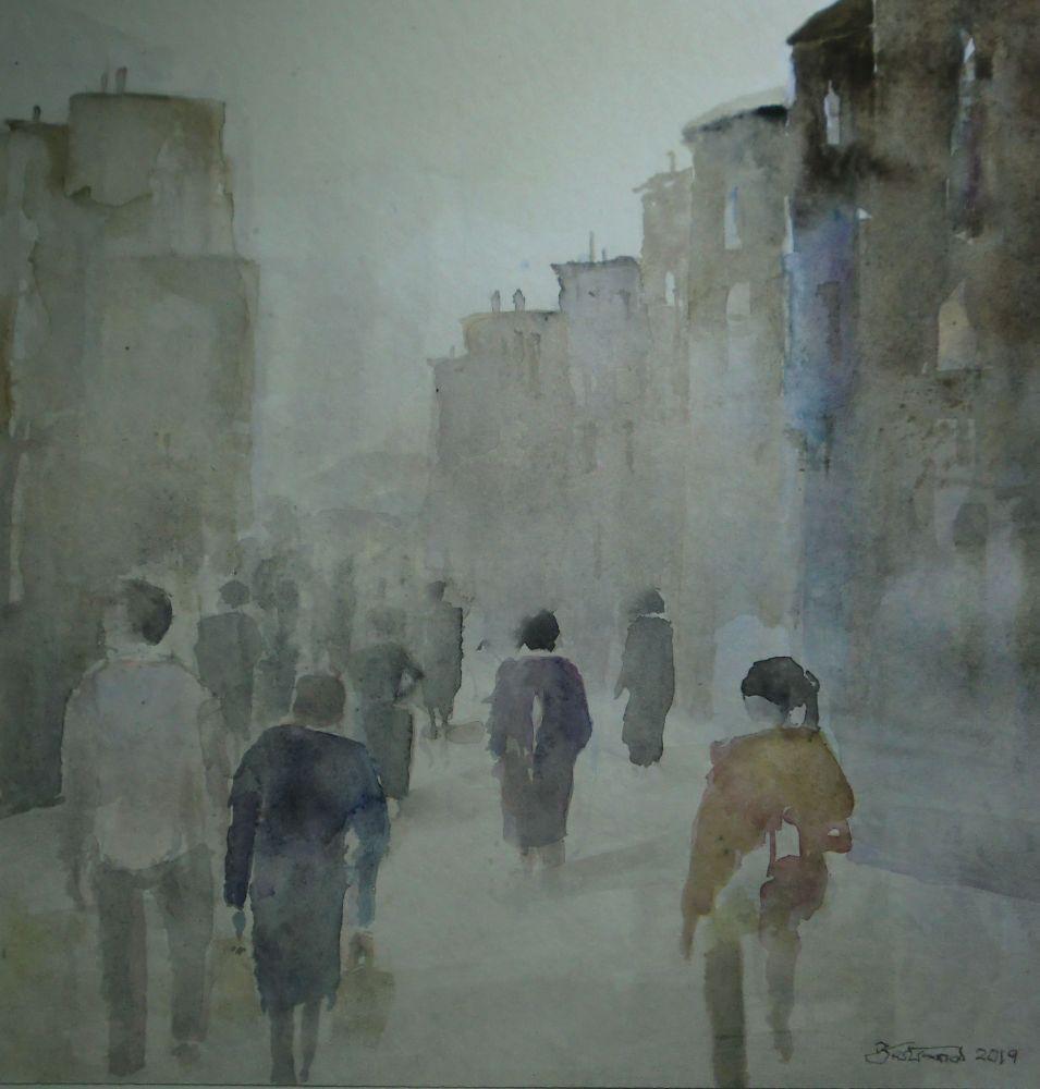 """In der Stadt"" (1) Aquarell 42x42cm"