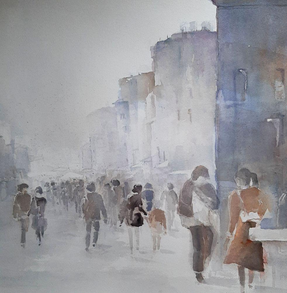 """In der Stadt"" (2) Aquarell 58x58cm"