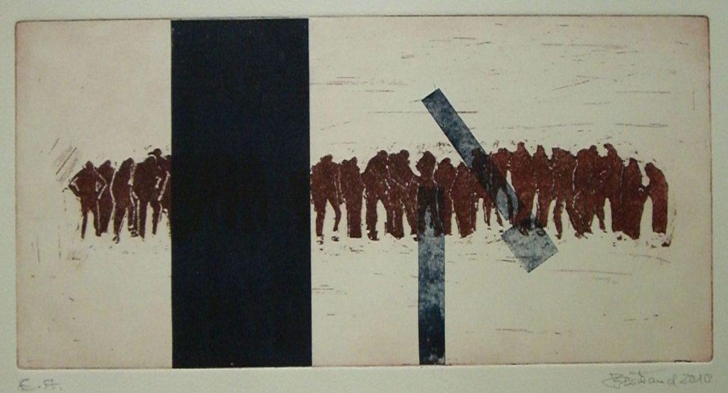 """""""Menschenkette""""Radierung+Collage 20x40cm"""