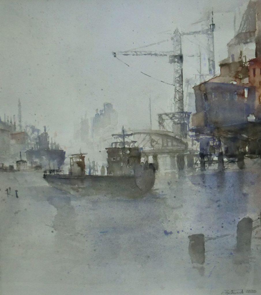 """Am Hafen"" (2) Aquarell 50×44 cm"