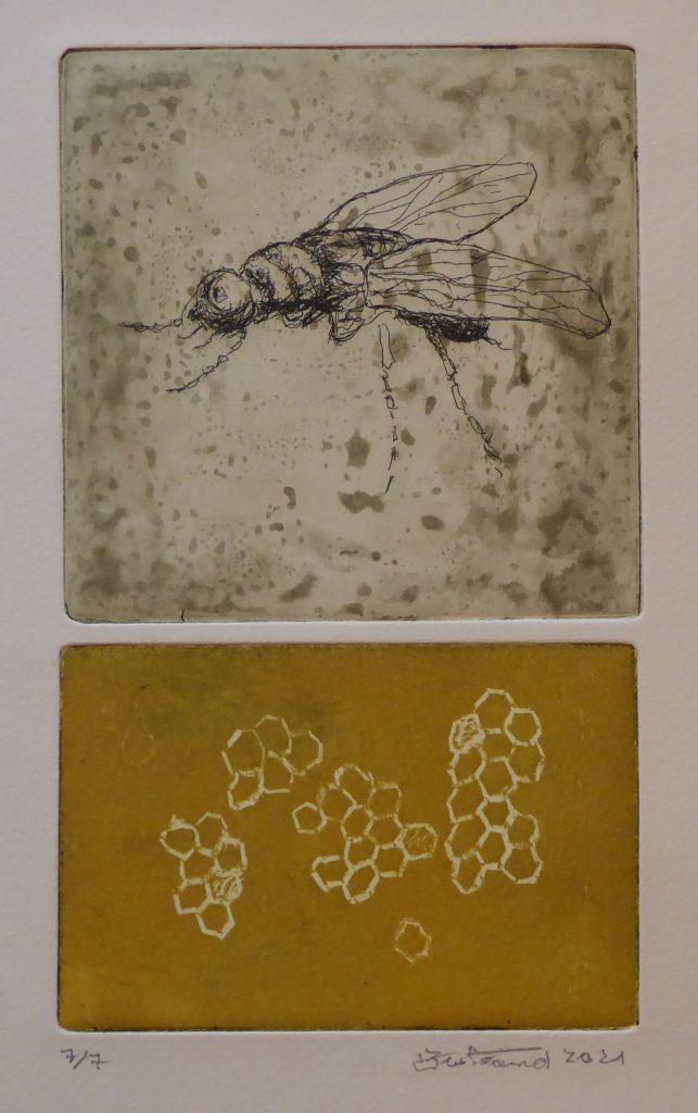"""""""Biene"""" Radierung 26x15cm"""