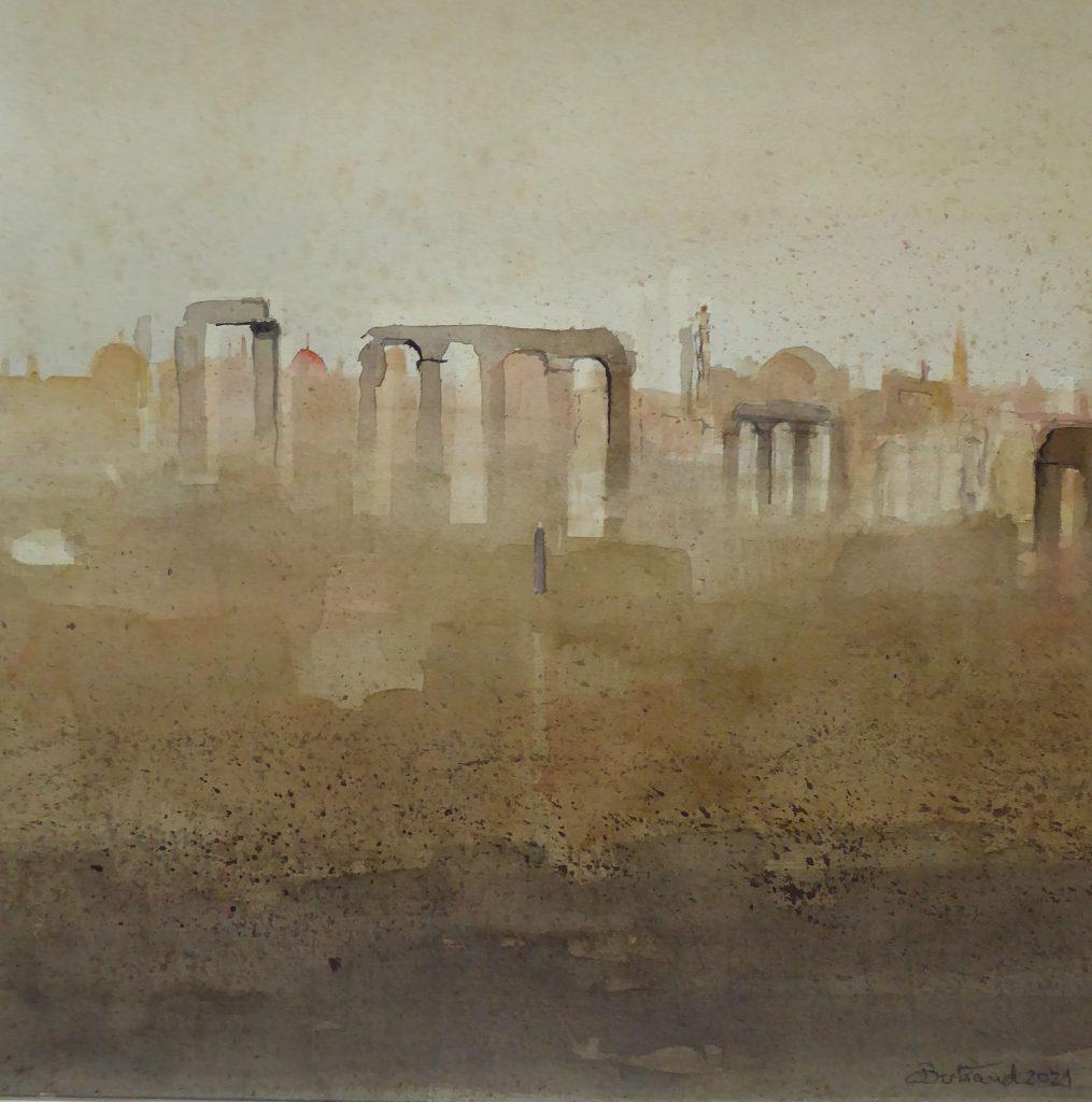 """""""Palmyra"""" (2) Aquarell 48×48 cm"""