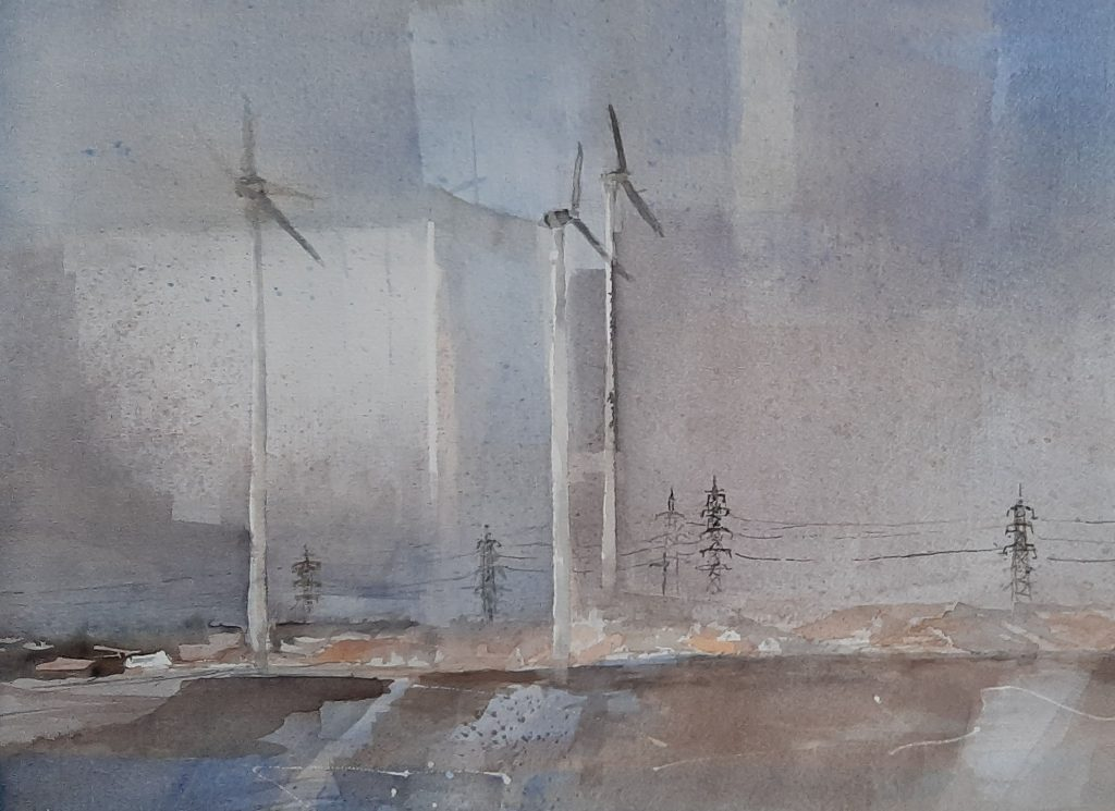 """Windräder"" Aquarell 38×53 cm"